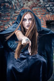 Portret młoda czarownica. Zdjęcie Stock