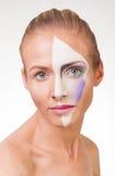 Portret młoda dziewczyna z farbą na jej twarzy Zdjęcia Royalty Free