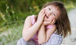 Portret młoda dziewczyna z puszka syndromem zdjęcie stock