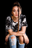 Portret młoda kobieta nad czarnym tłem fotografia royalty free