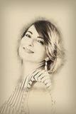 Portret młoda kobieta, ołówkowy rysunek Zdjęcia Stock