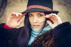 Portret młoda kobieta w jesień Fotografia Royalty Free