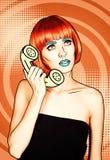 Portret młoda kobieta w komicznym wystrzał sztuki makijażu stylu Kobieta ja royalty ilustracja