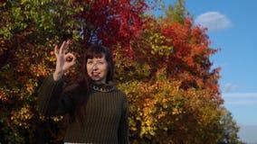 Portret młoda kobieta w trykotowym pulowerze na tle stubarwny ulistnienie zdjęcie wideo