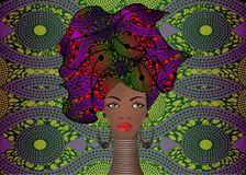 Portret młoda murzynka w turbanie Animacja afrykanina piękno Wektorowa kolor ilustracja odizolowywająca na batikowym tle Obrazy Royalty Free