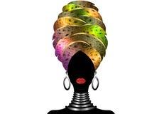 Portret młoda murzynka w turbanie Animacja afrykanina piękno Wektorowa kolor ilustracja odizolowywająca na białym tle Obrazy Royalty Free