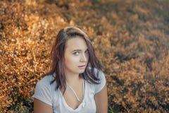 Portret młoda piękna brunetka na tle jesień zdjęcia stock