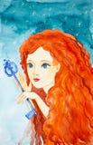 Portret młoda piękna dziewczyna z długim czerwonym włosy Dziewczyna trzyma bajecznie klucz Akwareli ilustracje na royalty ilustracja