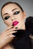 Portret młoda piękna dziewczyna z scena makijażem Obraz Royalty Free
