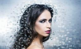 Portret młoda piękna kobieta w piksla stylu Obrazy Royalty Free