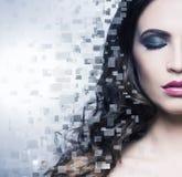 Portret młoda piękna kobieta w piksla stylu Zdjęcie Stock