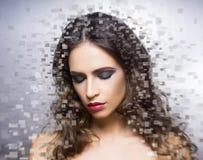 Portret młoda piękna kobieta w piksla stylu Zdjęcia Stock