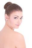 Portret młoda piękna kobieta z perfect skórą odizolowywającą dalej Fotografia Stock
