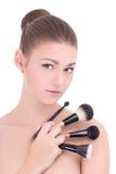 Portret młoda piękna kobieta z uzupełniał muśnięcia odizolowywających Obraz Stock