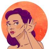 Portret młoda słuchająca brunetka ilustracja wektor