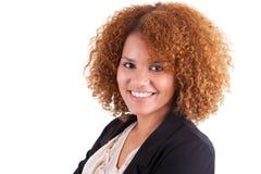 Portret młodego amerykanina afrykańskiego pochodzenia biznesowa kobieta - Czarny peop Obrazy Stock