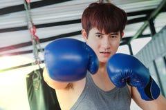 Portret młodego przystojnego azjatykciego mężczyzna ćwiczy boksować obraz royalty free