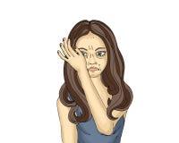 Portret młodej kobiety obcieranie i płacz drzeje z jego ręki ilustracji