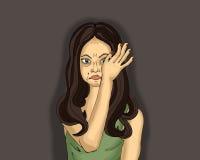 Portret młodej kobiety obcieranie i płacz drzeje z jego ręki ilustracja wektor