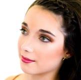 Portret młodej kobiety zakończenia twarzy up profil Fotografia Stock