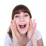 Portret młodej pięknej kobiety głośny krzyczeć out lub dzwonić obrazy royalty free