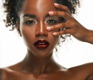 Portret Młody afrykanina model z pięknym makeup w studiu Zdjęcia Royalty Free