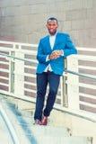 Portret Młody amerykanina afrykańskiego pochodzenia biznesmen w Nowy Jork Obraz Stock