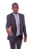 Portret młody amerykanina afrykańskiego pochodzenia biznesowego mężczyzna powitanie z Zdjęcie Stock