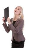Portret młody bizneswoman szczęśliwy jej sukces. Obrazy Stock