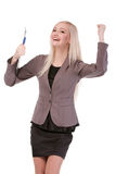 Portret młody bizneswoman szczęśliwy jej sukces. Obraz Royalty Free