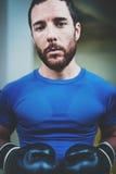 Portret Młody caucasian boksera mężczyzna w czarnych rękawiczkach na pierścionku w sprawność fizyczna klubie Kaukaska atleta patr Obrazy Royalty Free