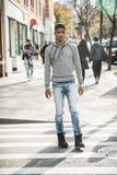 Portret młody człowiek w Brooklyn, NYC ulicy Zdjęcie Royalty Free