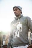Portret młody człowiek w Brooklyn, NYC ulicy Fotografia Royalty Free