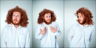 Portret młody człowiek z szokującym wyrazem twarzy zdjęcia royalty free