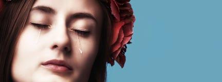 Portret młody piękny kobieta płacz Fotografia Royalty Free
