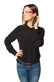 Portret młody plciowy brunetki być ubranym Zdjęcia Royalty Free