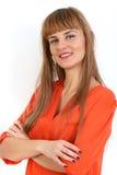 Portret młody pomyślny bizneswoman ono uśmiecha się z ręki fol Zdjęcia Royalty Free