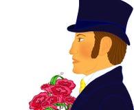 Portret młody romantyczny dżentelmen z wiązką kwiaty Obrazy Royalty Free