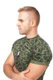 Portret młody zadumany wojsko żołnierz Fotografia Stock
