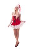 Portret młoda atrakcyjna seksowna Santa dziewczyna Obrazy Royalty Free
