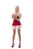 Portret młoda atrakcyjna seksowna Santa dziewczyna Obraz Stock