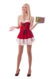 Portret młoda atrakcyjna seksowna Santa dziewczyna Zdjęcia Stock