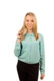 Portret młoda blondynki kobieta Zdjęcia Royalty Free