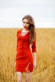 Portret młoda brunetki kobieta w czerwieni sukni Fotografia Stock