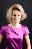 Portret młoda dama na czarnym tle Fotografia Stock