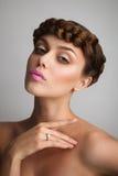 Portret młoda dama z warkoczem Fotografia Stock