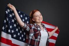 Portret młoda entuzjastyczna patriotyczna dama Obraz Royalty Free