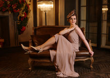 Portret młoda kobieta w art deco stylu Zdjęcie Royalty Free
