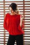 Portret m?oda pi?kna caucasian kobieta w czerwonej koszulce fotografia stock