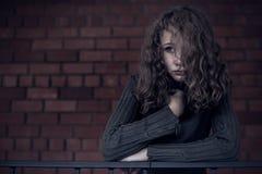 Portret młoda smutna dziewczyna Zdjęcia Royalty Free